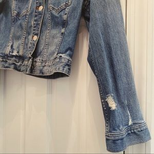 Distressed Madewell Cropped Denim Jean Jacket